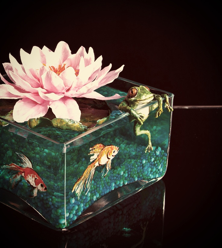 Creative and ... wet :)   #flowers #frog #fish #centerpiece