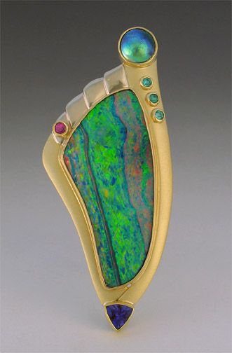 Opal pin with abalone, tanzanite, pariaba, spinel, and diamonds - Patrick Murphy