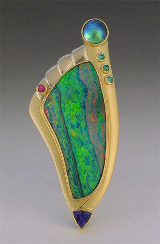 Opal pin with abalone, tanzanite, pariaba, spinel, and diamonds - Patrick Murphy... Amazing