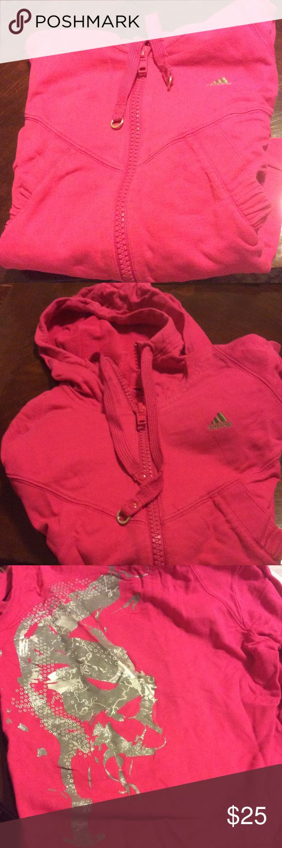 Adidas neon pink zip-up hoodie Neon pink Adidas zip-up hoodie. Size says Large because it is in Asian size, but is equivalent to a US women's medium Adidas Tops Sweatshirts & Hoodies