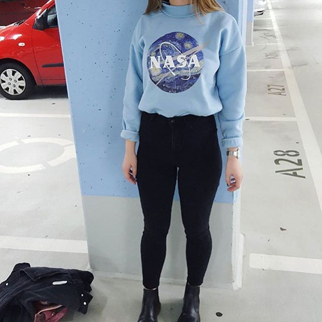 """972 Likes, 13 Comments - """"THAT'S SO AESTHETIC"""" (@soaestheticshop) on Instagram: """"Who would wear this outfit? @nadjja.s in our """"NASA: STARRY NIGHT"""" sweater #soaestheticshop…"""""""