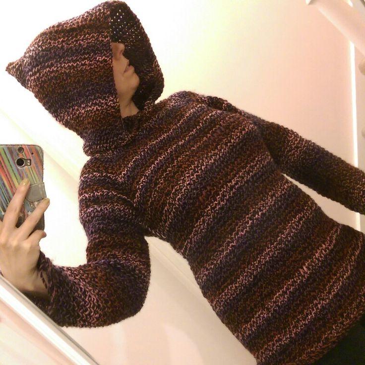 Tunisian crochet hoodie I've made for myself