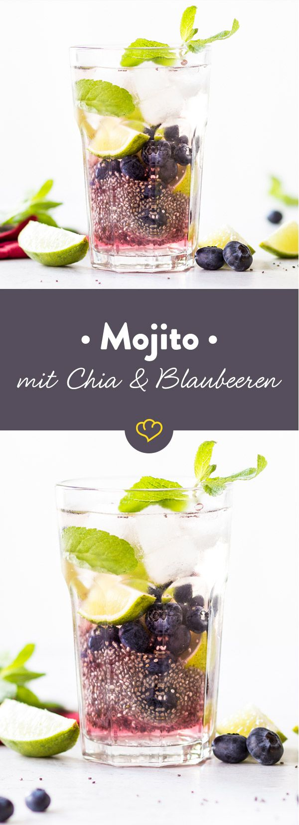 Dieser Mojito macht nicht nur blau, er ist es auch. Frische Blaubeeren und geelige Chia Samen machen den klassischen Mojito zum erfrischenden Chia-Cocktail.