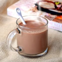 Nutella Latte Just 3 ingredients! 1cup milk, 1 1/2 tsp Nutella,& 2