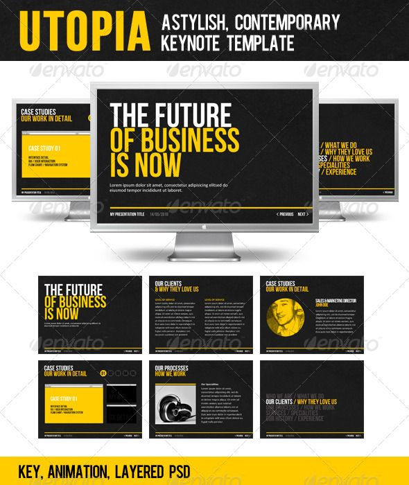 Utopia  #GraphicRiver         A stylish, contemporary Keynote template.  	 UPDATE – This template has now been updated to HD resolution of 1920×1080.  	 Please Note: For anyone struggling to scale this template to their screen size, the presentation can be seen here at 2560×1440 with settings.  	 Also, please see this short tutorial.     Created: 22February11 PresentationFilesIncluded: KeynoteKEY #LayeredPSD Tags: business #contemporary #event #modern #presentation #stylish