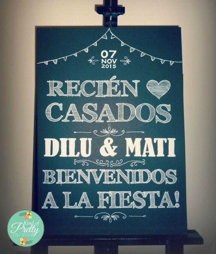 Cartel de Bienvenida Boda tipo pizarra #boda #cartel #sign #bienvenida #novios #chalkboard