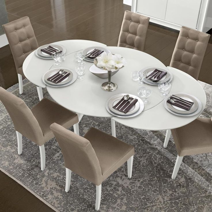 Bianca White High Gloss  Glass Round Extending Dining Table .
