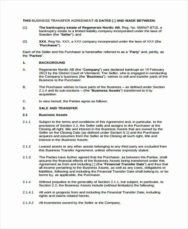 Asset Transfer Agreement Template Elegant 12 Transfer Agreement Templates Free Word Pdf Format Contract Template Business Ownership Best Templates