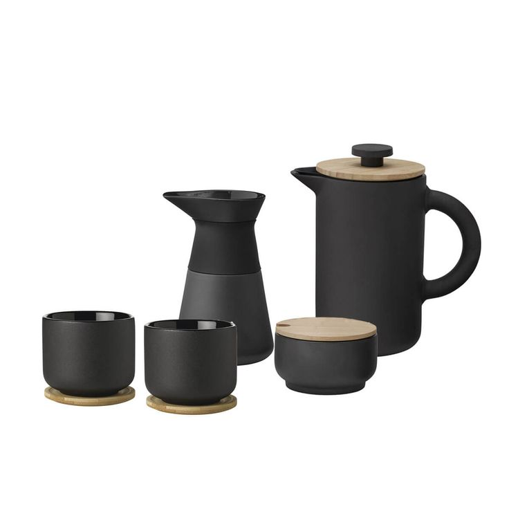 A complete French Press kit that combines quality brewing with sleek, Scandinavian design. Upgrade anyone's morning with this complete, 5-piece French Press set. Produced by decades-old Danish manufacturer, Stelton, the striking, contemporary design is manufactured to last for decades. Made in matte black stoneware with a shiny interior glaze, the French Press coffee maker comes …