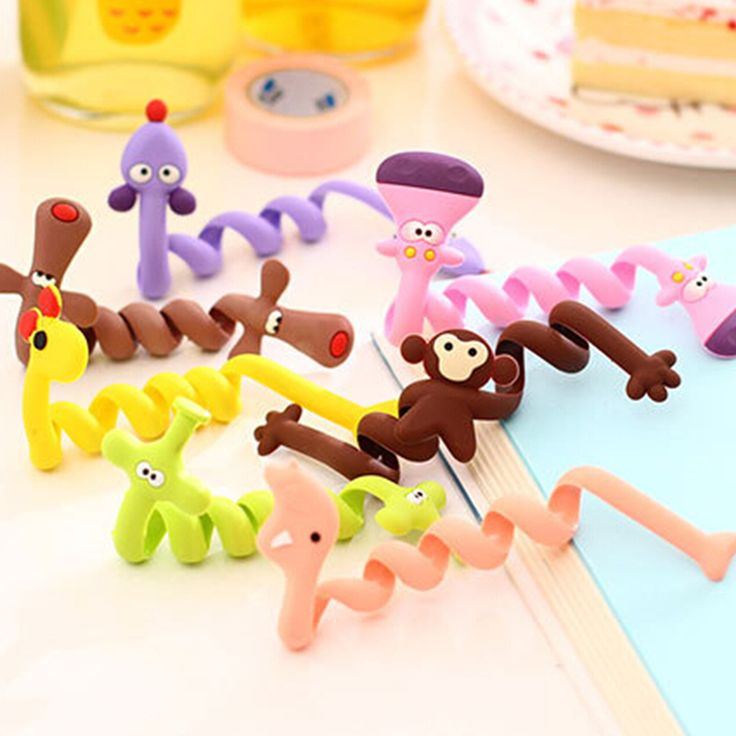 1Psc Cute Cartoon Earphone Wire Cord Cable Winder Organizer Holder Tablet MP3 MP4 PC Electric Cable winding thread