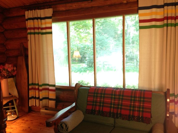 DIY Drop Cloth Curtains Hudson Bay Blanket Lodge Look