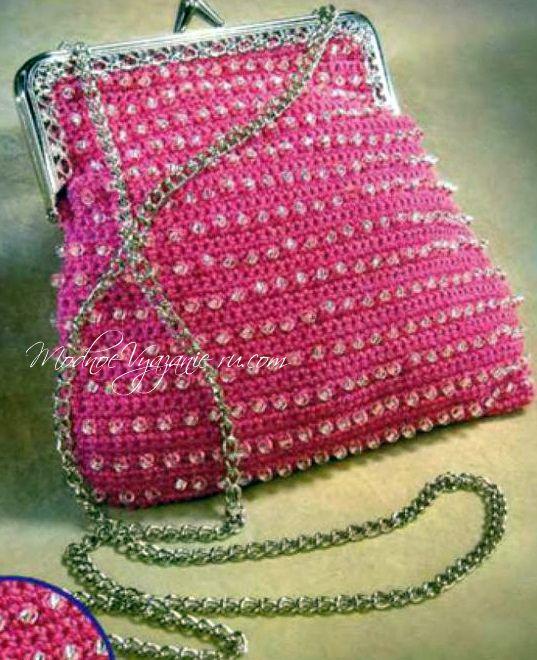 Сумочка  связанная крючком с бисером - Crochet Modnoe Vyazanie