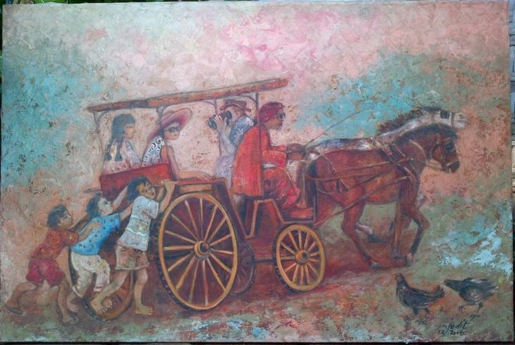Lukisan Andong , oil on canvas, 60 x 90 cm