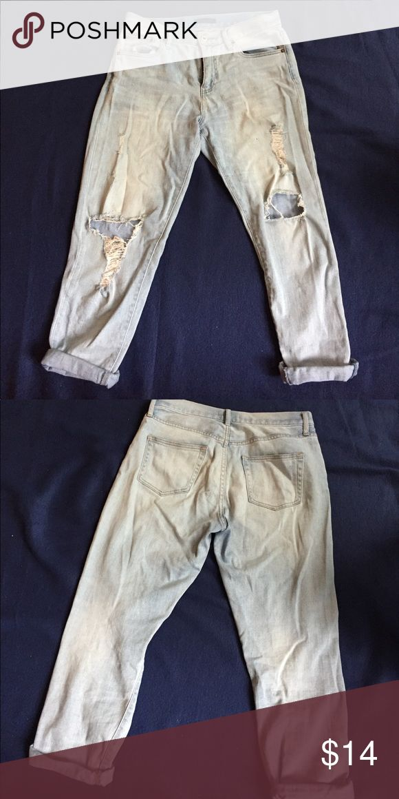 Uniqlo Women's Ripped Jeans Barely worn. Looks great full length or rolled. Very breathable and comfortable. Equivalent to size 6. Uniqlo Jeans