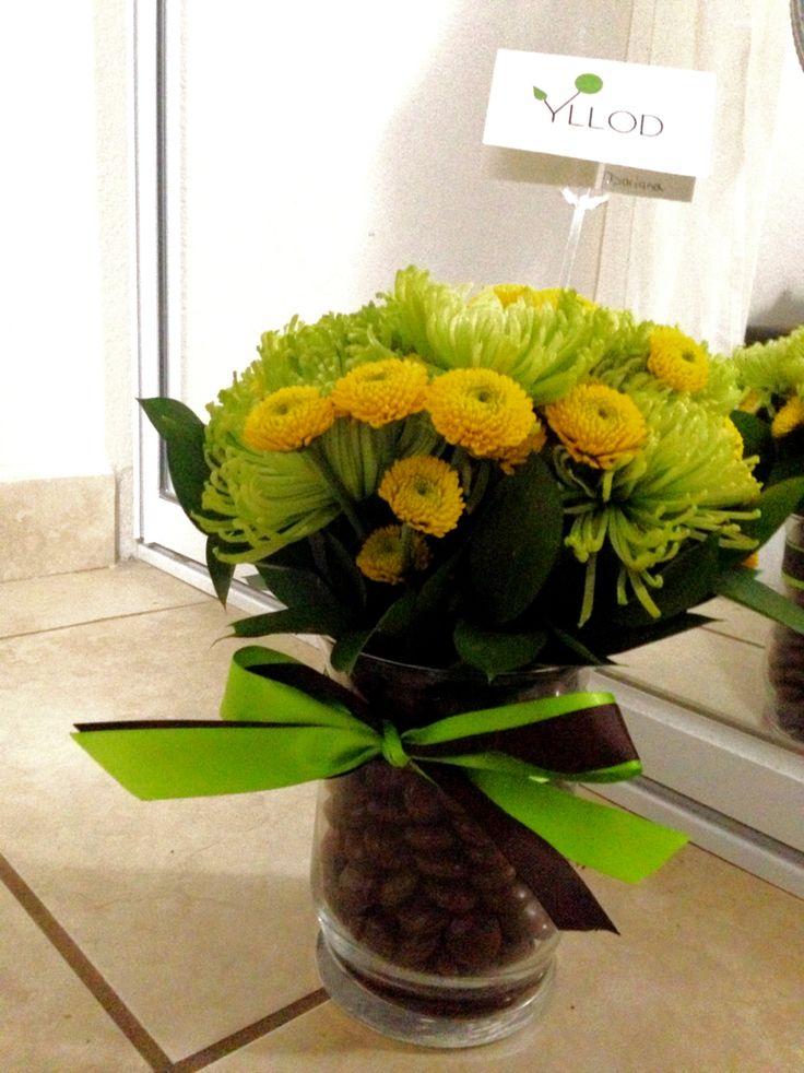 Hershey arrangement with pom pom flowers! For a Valentine Day!