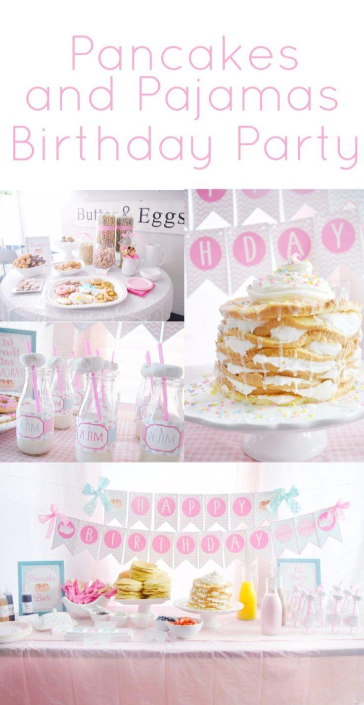 Pancake and pajamas birthday party girls birthday ideas pancake bar  breakfast bar pancake and pjs party supplies party decorations birthday  pajamas pink ... 60d925e38