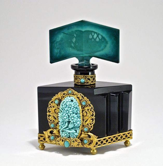 1920s Czechoslovakian perfume bottle, black crystal,