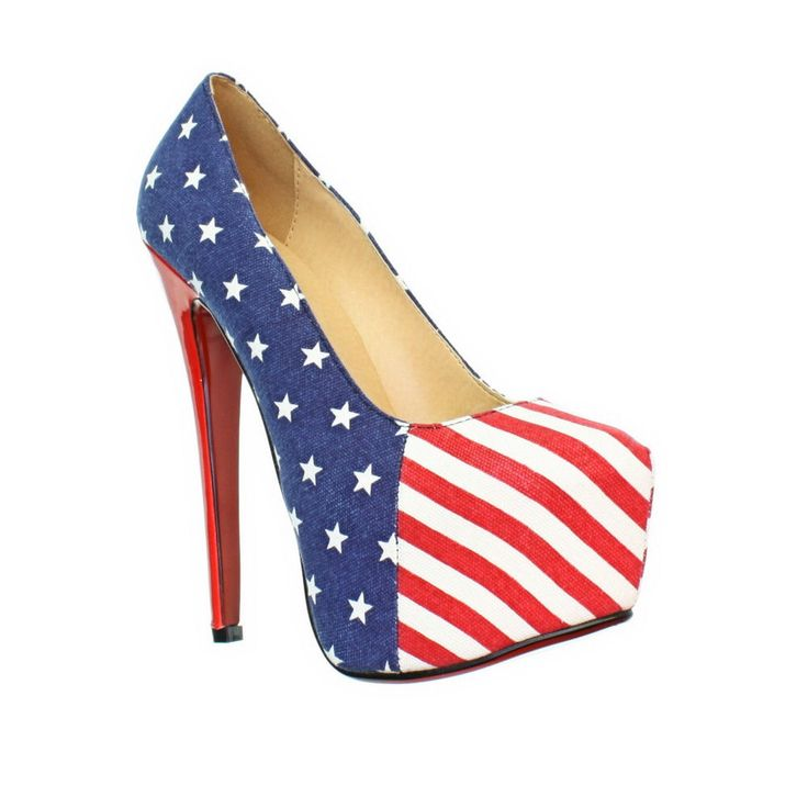 WOMENS AMERICAN FLAG HIGH HEEL PLATFORM STARS AND STRIPES COURT SHOES. There are several variations on these, but this is the one I like best. I can't wear that high a heel, though, unless I sit down the whole time with my legs crossed over a chair arm. Come to think of it, there's an idea. ;)