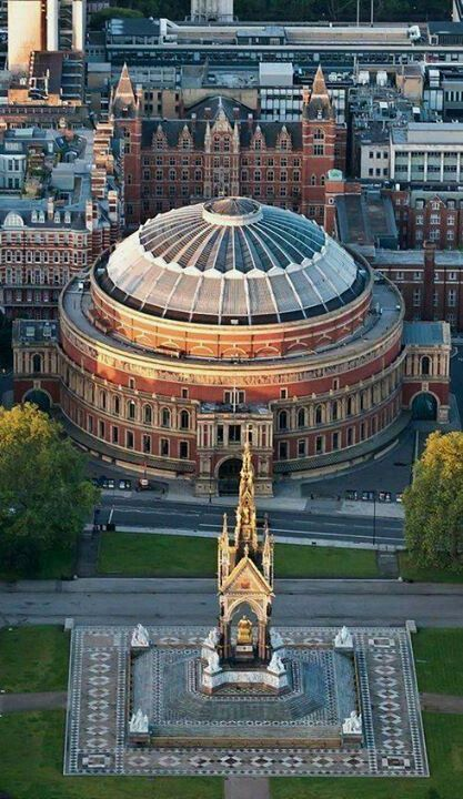 Albert Hall, London, England, with the Princes loving statue from Victoria across the street.