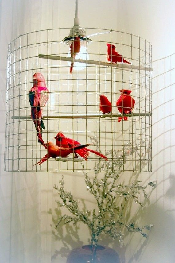 Really clever.  Custom birdcage chandelier.