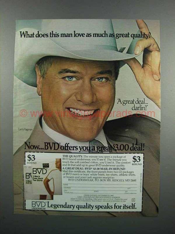 1983 BVD Underwear Ad - Larry Hagman
