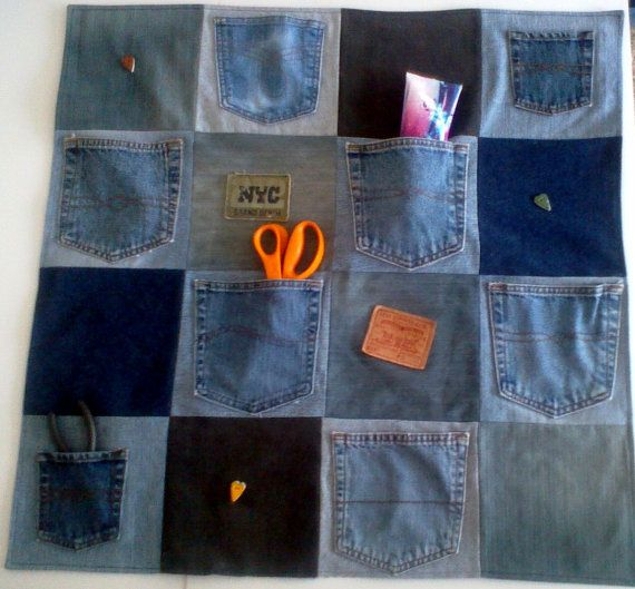 Re purposed denim wall organizer 30 x 30 dorm room for Denim craft projects