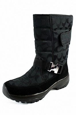 COACH Sharron Signature C Logo Black Winter Boots Women's Shoes