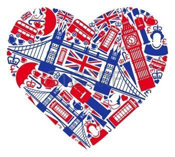 drapeau londres: Symboles traditionnels de Londres et l'Angleterre sous la forme de coeur