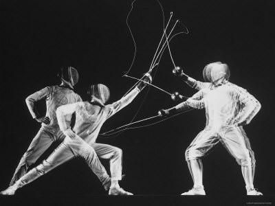 Multiple Exposure of New York University Fencing Champion Arthur Tauber Parrying with Sol Gorlin Photographic Print by Gjon Mili at Art.com