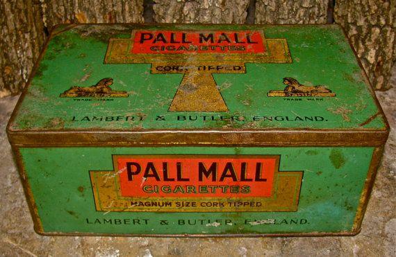 Antique / Vintage  PALL MALL Cigarette Tobacco Tin Box  / Old