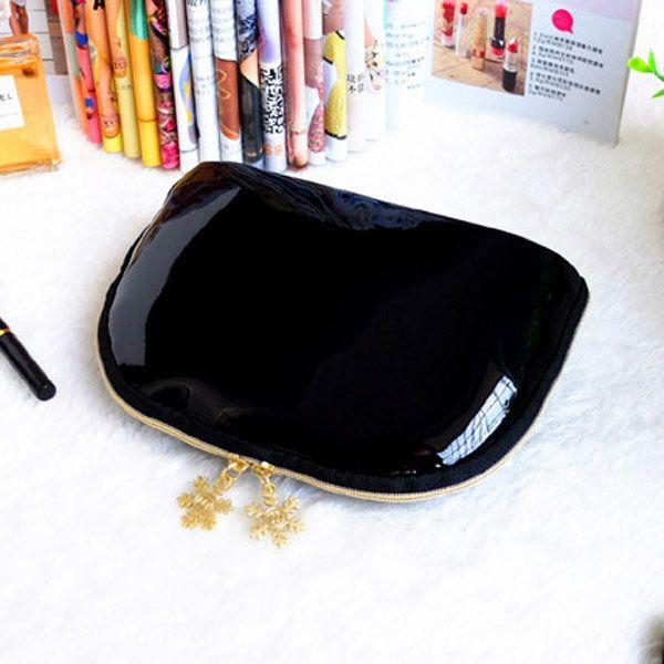 Women PVC Black Cosmetic Bag Casual Travel Clutch Bag - US$7.44