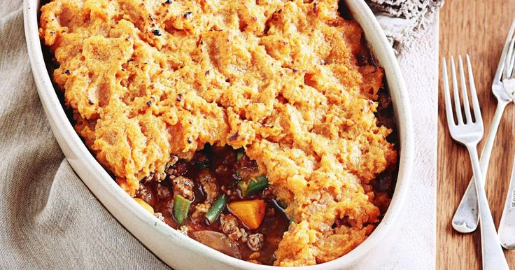 An update to a classic shepherd's pie that uses harissa spice, cinnamon lamb mince and mashed sweet potato.