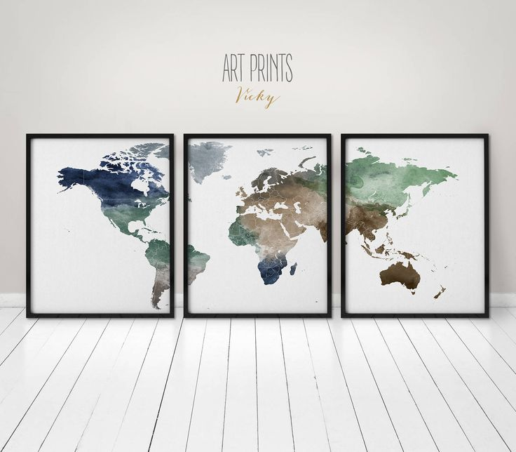 110 best watercolor maps images on pinterest map posters world world map wall art print poster 3 pieces world map print wall art art print office wall art travel gift wall decor artprintsvicky gumiabroncs Gallery
