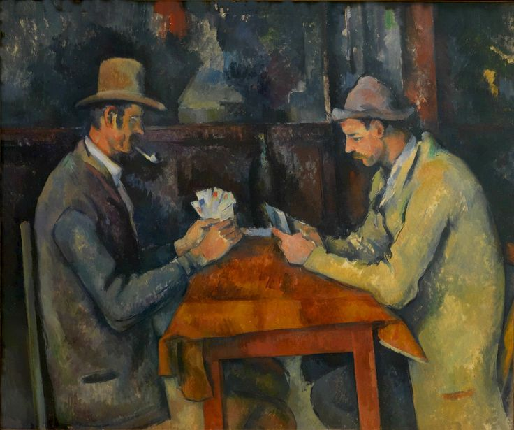 """""""I giocatori di carte"""", Paul Cézanne, 1894; olio su tela, 58x48 cm; lascito di Isaac de Camondo, l'opera appatiene al Museo d'Orsay, Parigi."""