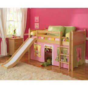 Marvelous Girl Tent Low Loft with Slide - Bunk Beds & Loft Beds at Hayneedle
