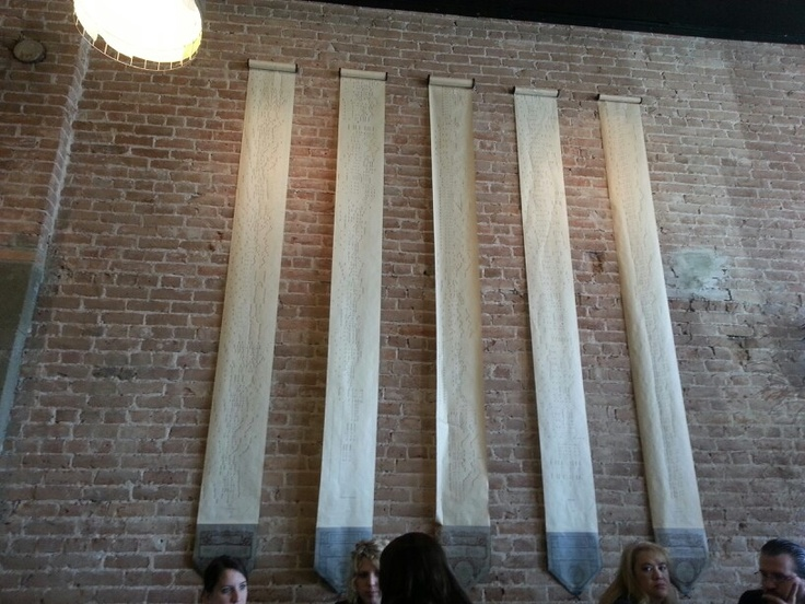 Player piano rolls as decoration at Station 22 Cafe