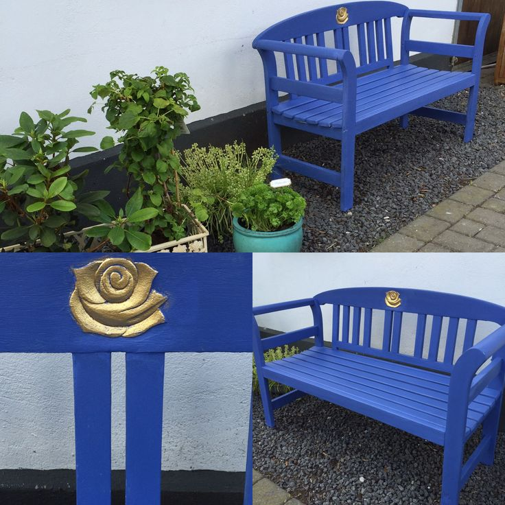 Little blue bench painted in Nordic Chic chalk & mineral paint 100% eco friendly and zero voc. Check us out at www.nordicchic.dk