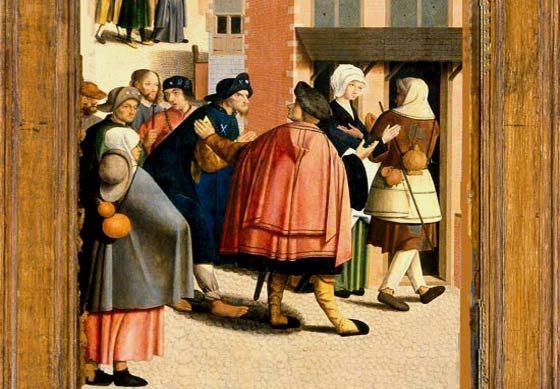 Onthaal van pelgrims in een gasthuis. De Meester van Alkmaar, 1504. Amsterdam, Rijksmuseum.