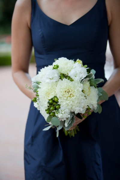 The bridesmaids will wear Navy Blue satin dresses and they will carry White & Green bouquets. #sparklingeverafter