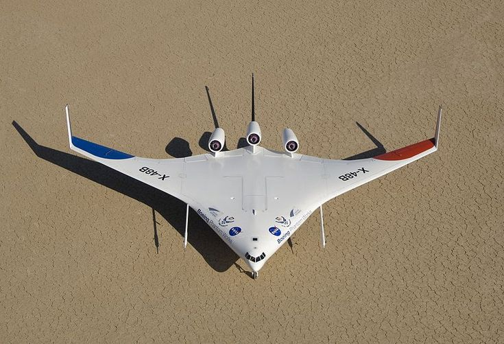 Boeing X-48 blended wing body subscale UAV currently being tested with NASA.