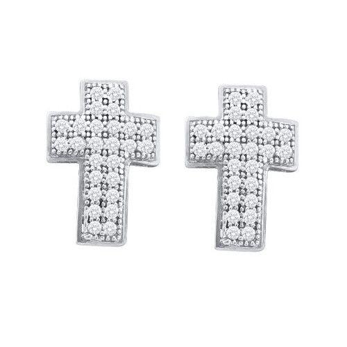 10k White Gold 0.15Ctw Diamond Cross Earrings