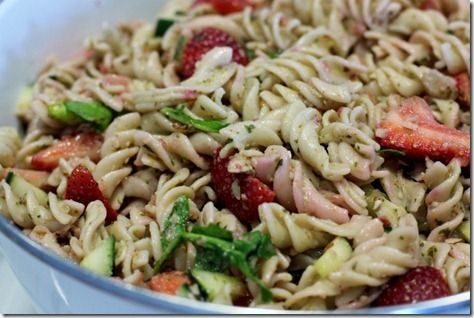 pasta with strawberry pesto -- this shall be my dinner when the hubs is out of town!