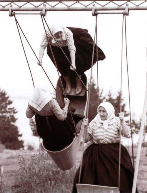 Jiru Jiri - Swinging grannies, 1966Cardboard Boxes, Swings Granny, Vintage Photos, 1966, White, Fun, Slovakia, Black, Photography