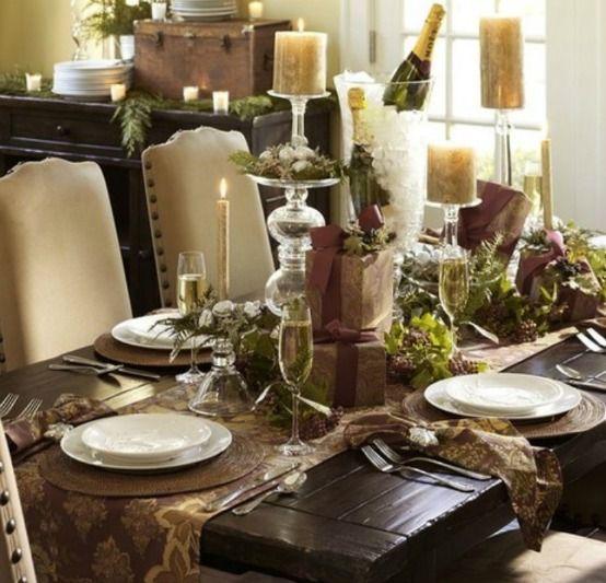 Rustic Christmas Table Setting Rustic Design Interiordesign