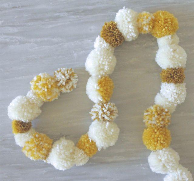 Yellow And White Pom Pom Tree Garland Diy Christmas