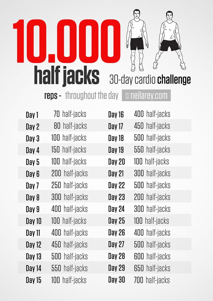 10000 Half jacks 30 day Cardio Challenge Exercise 30