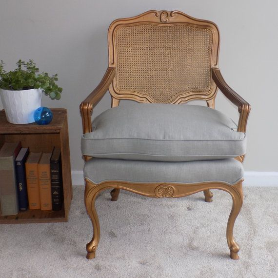 Vintage Cane Style Arm Chair with Upholstered Seat - Now available at Pug House Vintage on Etsy!