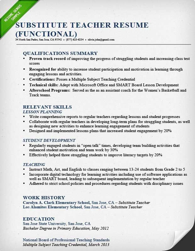 Substitute Teacher Resume Sample Functional Teaching