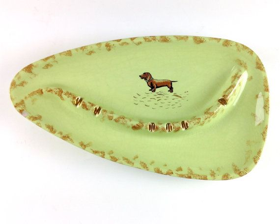 Large Ashtray, Celadon Green and Gold with Dachshund Dog, Vintage Ashtray, Dotson Dog, Dog Lover, Fathers Day Gift, Cute Ashtray
