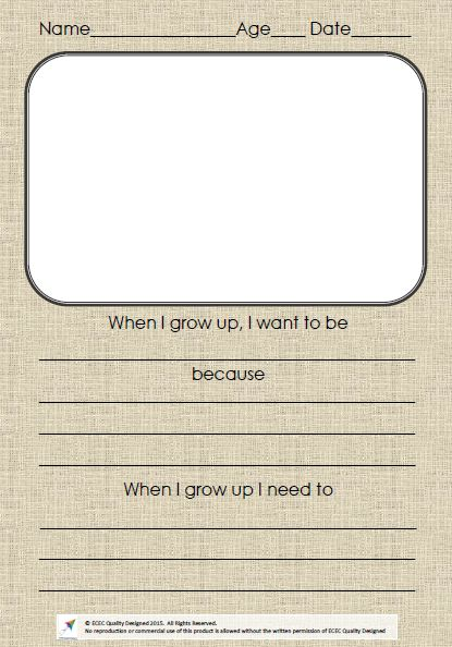 When I Grow Up  This simple template helps to record childrens interests and future hopes, and can be used within childrens portfolios as a record of their Identify.